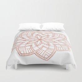 Mandala Posy Flower Rose Gold on White Duvet Cover