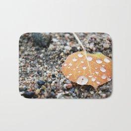 Aspen Leaf and Water Droplets Bath Mat