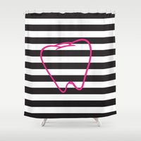 dentist Shower Curtains featuring Dental Stripes by Dental Chic