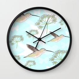 Hummingbirds & Queen Anne's Lace Wall Clock