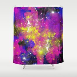 Journey Through Space - Abstract purple and blue, space themed artwork Shower Curtain