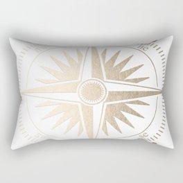 Gold on White Compass Rectangular Pillow