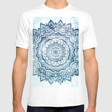 BLUE JEWEL MANDALA MEDIUM Mens Fitted Tee White