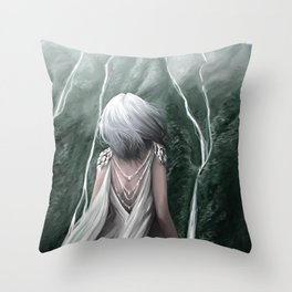 Girl  standing by a mountain Digital Art Painting Throw Pillow