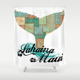 Lahaina,Maui Tapa Tribal Whales Tail Shower Curtain
