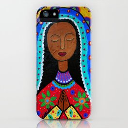 Mexican Folk Art Virgin Guadalupe Painting iPhone Case