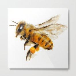 Honey Bee collecting pollen Metal Print