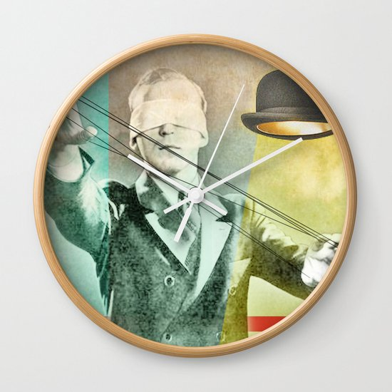 Blindfold bowler Wall Clock