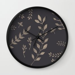 Light Sepia Leaves Pattern #1 #drawing #decor #art #society6 Wall Clock