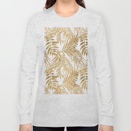 Elegant tropical gold white palm tree leaves floral Long Sleeve T-shirt