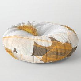 Flowers White Black Orange Floor Pillow