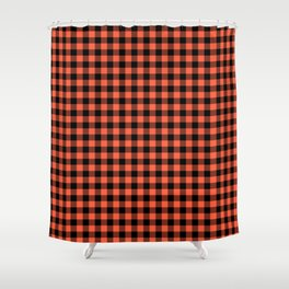 Living Coral Orange and Black Buffalo Check Plaid Shower Curtain