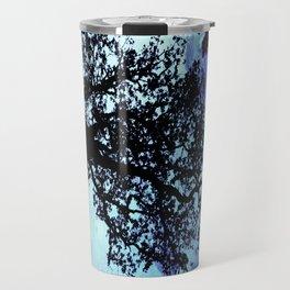 Black Trees Periwinkle Aqua Space Travel Mug