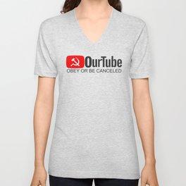 OurTube OBEY OR BE CANCELED Unisex V-Neck