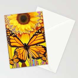 YELLOW SUNFLOWER ART & MONARCH BUTTERFLIES ABSTRACT Stationery Cards