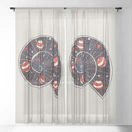 Spiral Galaxy Snail With Beach Ball Planets Sheer Curtain