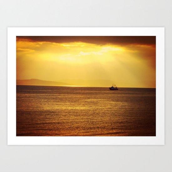 Going Fishing at sunset Art Print