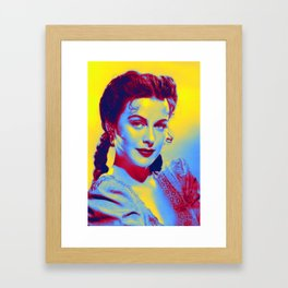 Hedy Lamarr, colorized from a 1942 promo still of her movie Tortilla Flat Neon art by Ahmet Asar Framed Art Print