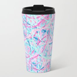 Life is a Party - Pink & Light Blue Abstract Travel Mug