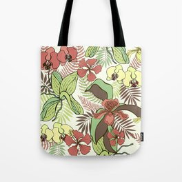 Tropical flowers and leaves. Orchids and hibiscuses. Tote Bag