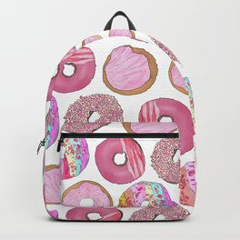 Cute Pink Sprinkle Confetti Watercolor Donuts Backpack