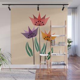 Retro tulips Wall Mural