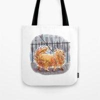 pomeranian Tote Bags featuring Pomeranian  by Renee Kurilla