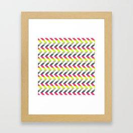 Neon Strawberry - Chevron Geometric Pattern Framed Art Print