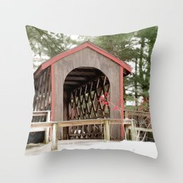 Photography Covered Bridge Throw Pillow