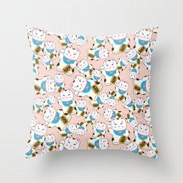 Maneki-neko good luck cat pattern Throw Pillow