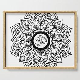 Om Hindu sacred sound symbol Mandala Serving Tray
