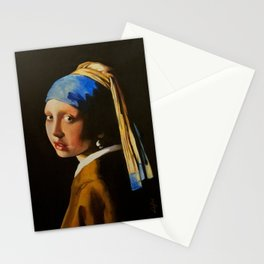 Acrylic Study of Vermeer's The Girl with the Pearl Earring Stationery Cards