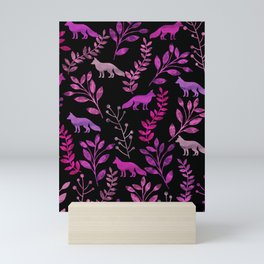 Watercolor Floral & Fox II Mini Art Print