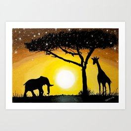 Sunset in Africa Art Print