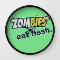 in the flesh Wall Clocks featuring Zombie Eat flesh by Wood-n-Images