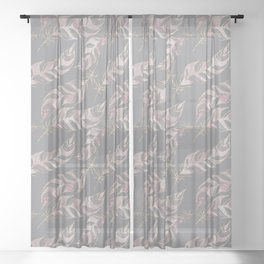 Blush Pink Feather Boho Pattern Sheer Curtain