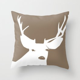 Deer Head in Brown Throw Pillow