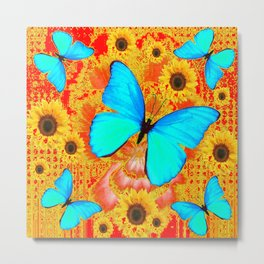 TURQUOISE BUTTERFLIES RED-YELLOW FLORAL Metal Print