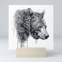 Bear Head Black and White Mini Art Print