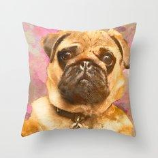 Pug Painting, Watercolor Pug, Pug Art, Pug Print, Dog Pug, Animal, Mixed Media, Love Pug, Decor Throw Pillow