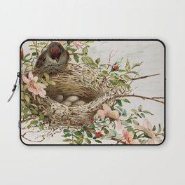 Vintage Bird with Eggs in Nest Laptop Sleeve