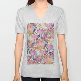 Elegant watercolor floral and dotted brush strokes Unisex V-Neck