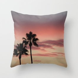 Atmospherics Number 3: Two Palms in the Sunset Throw Pillow