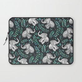 Laughing Baby Elephants – emerald and turquoise Laptop Sleeve