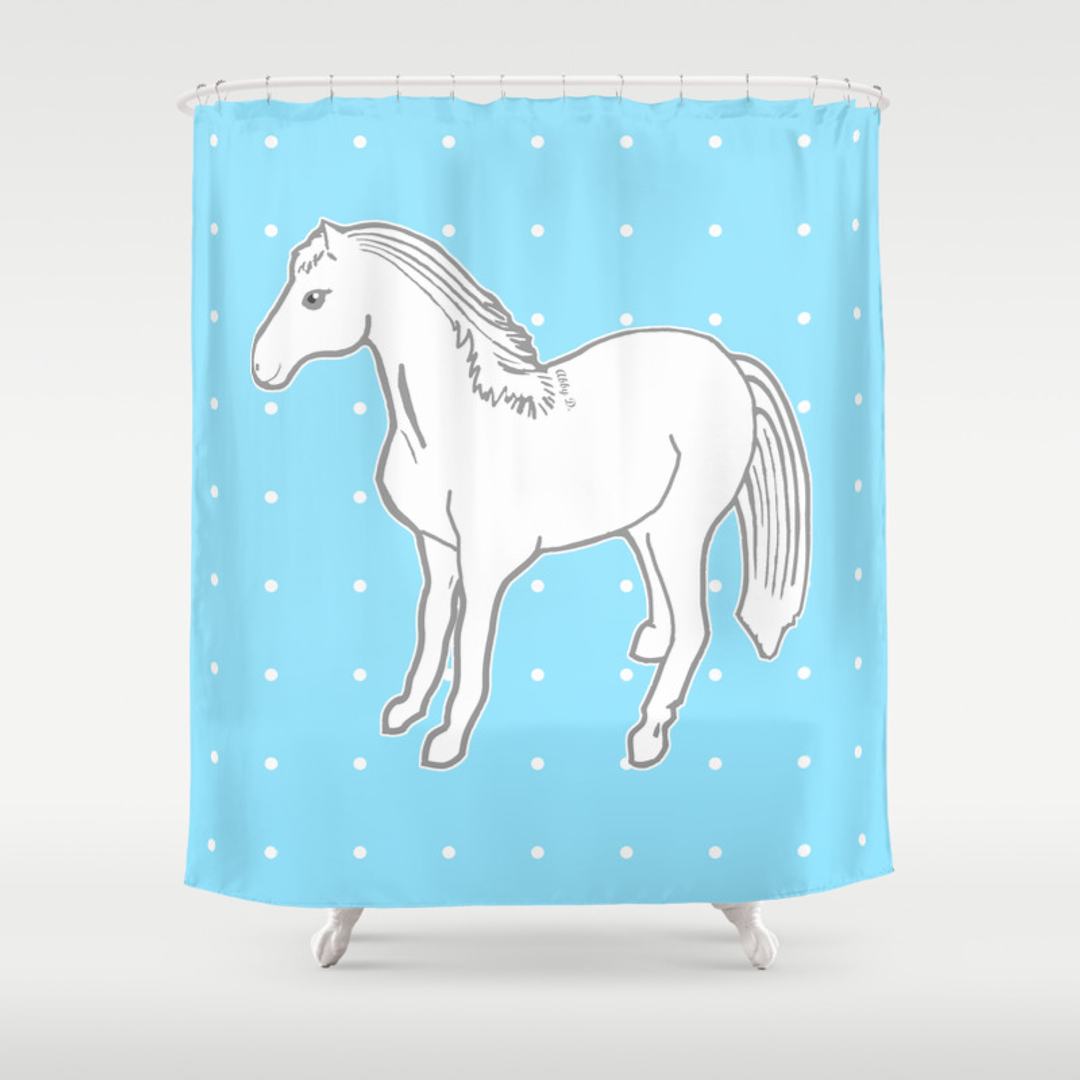 Light blue and white shower curtain - Blue And White Shower Curtain