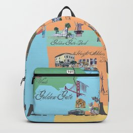 San Francisco Fine Art Print Retro Vintage Favorite Map with Touristic Highlights Active Backpack