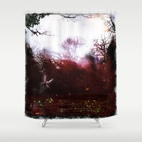 fairies Shower Curtains featuring Fairies by the Waterside by Sarah Maurer