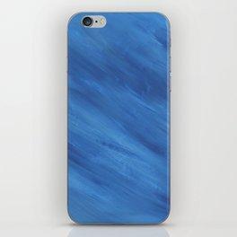 Diagonal Blue Stripes Print iPhone Skin