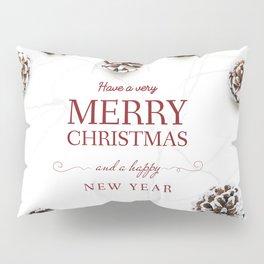 Merry Christmas Modern Holiday Greeting White Pillow Sham