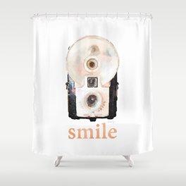 Retro Watercolor Camera SMILE! Shower Curtain
